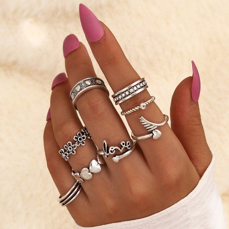 new retro letter Love joint ring love silver small flower dot diamond ring 8-piece set NHPV263699