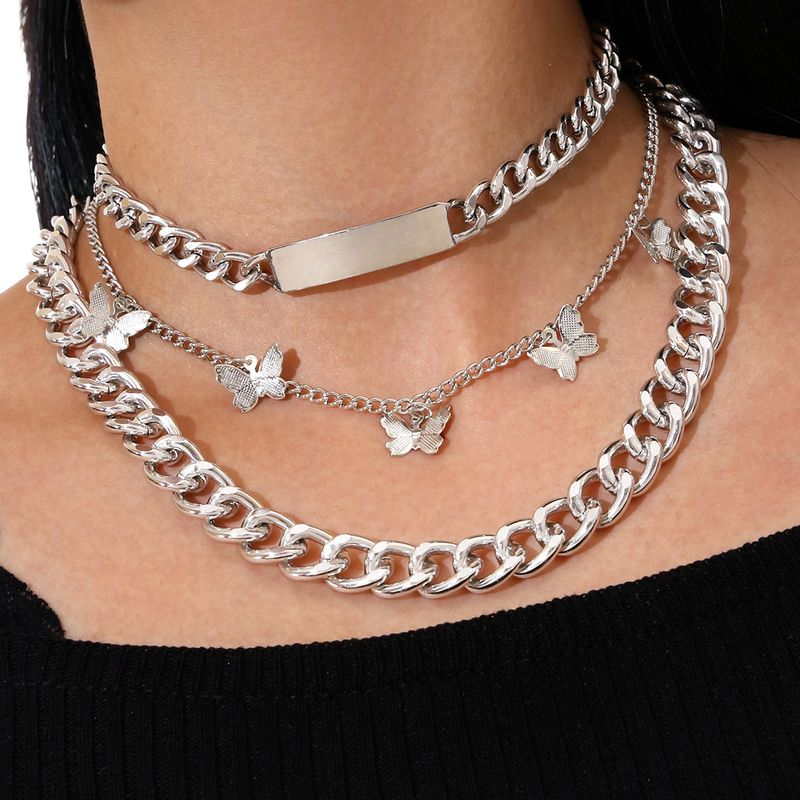 fashion new punk style long strip multilayer silver flower butterfly tassel clavicle chain necklace NHPV263701