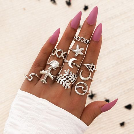 new retro geometric ring starfish airplane hollow love shell moon ring 11 sets NHPV263703's discount tags