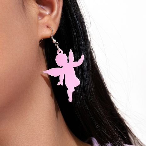 new silver ear hook pink black acrylic little angel pendant earrings set NHPV263707's discount tags