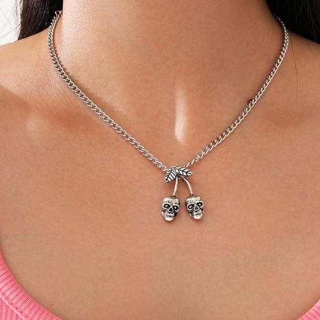Fashion new single-layer skull cherry pendant necklace for women NHPV263716's discount tags