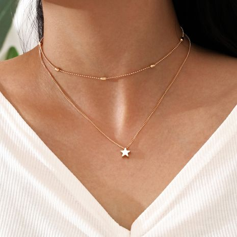 Simple Double-Layer Clavicle Necklace Star-Shaped Pendant Necklace  NHPV263720's discount tags