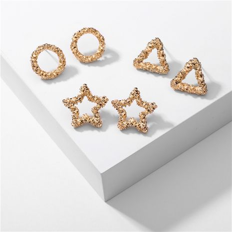 Fashion environmentally friendly alloy 3 pairs of star earrings set NHLU263727's discount tags