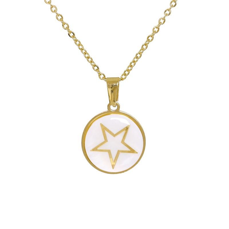 Fashion stainless steel geometric five-pointed star pattern pendant necklace  NHJJ263750