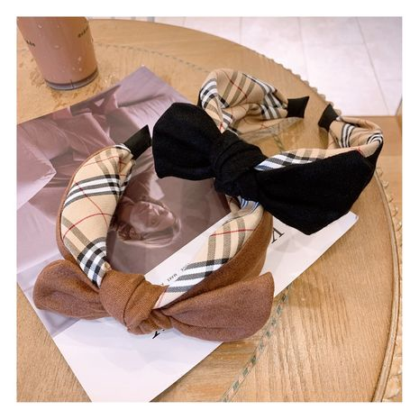 Korean headdress retro plaid British style leather velvet plus border bow broad-brimmed headband hairpin NHHD263762's discount tags
