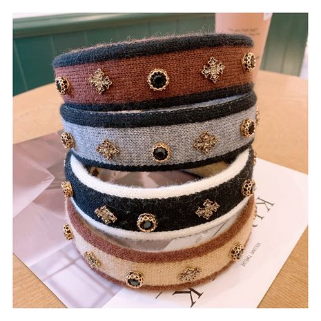 Autumn and winter Korean fashion rhinestone headband wool all-match outside bundle hair accessories NHHD263763's discount tags