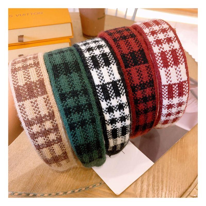 Korean autumn and winter woolen houndstooth retro sweet widebrimmed knit allmatch headband  NHHD263767