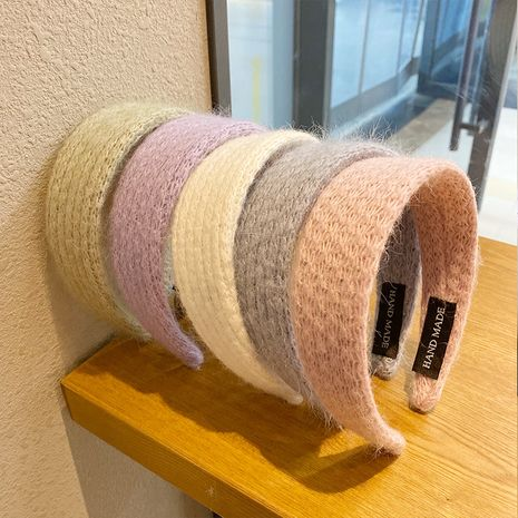 sweet hair hoop knitted wool non-slip pressed autumn bundled hair headband solid color hair accessories NHNA263784's discount tags