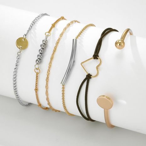 Korea simple hollow heart bracelet all-match round piece bead 6-piece bracelet set NHGY263142's discount tags