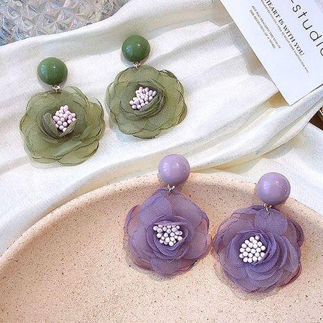 Pendientes de botón de aleación dulce de flor de gasa retro de moda coreana NHSC264009's discount tags