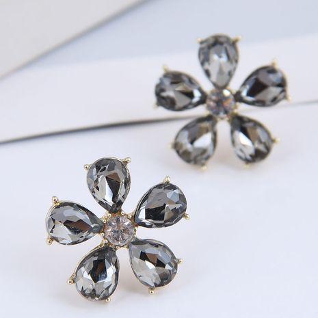 Pendientes de aleación de flores de piedras preciosas lujosas concisas de moda coreana NHSC264007's discount tags