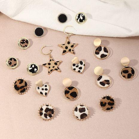 pendientes geométricos de corazón creativo con estampado de leopardo de otoño e invierno NHNZ263812's discount tags