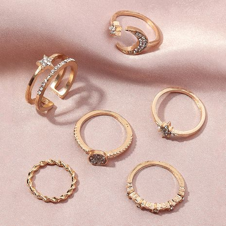 wholesale simple diamond star and moon geometric rings set NHNZ263815's discount tags