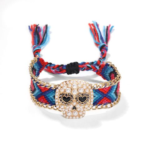 hand-woven dark skull Halloween gift alloy diamond ghost head bracelet wrist jewelry NHJQ263817's discount tags