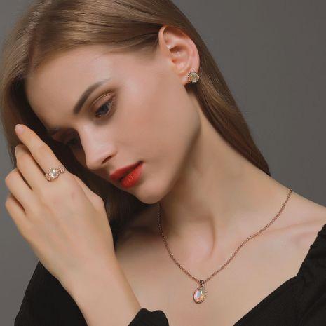nouvelle mode pierre de lune opale pendentif collier bague boucles d'oreilles ensemble bijoux de mariée NHDP263848's discount tags