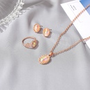 new fashion moonstone opal pendant necklace ring earrings set bridal jewelry NHDP263848