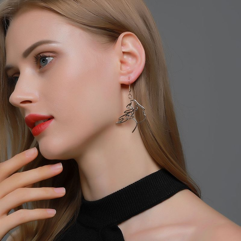 hot selling simple portrait hollow fun abstract face line earrings  NHDP263852