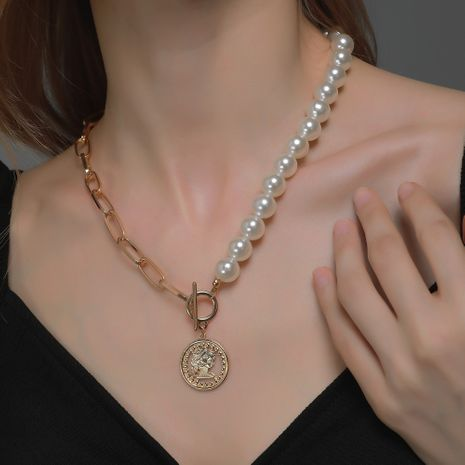 new accessoriesretro coin pendant women's  pearl necklace NHDP263853's discount tags