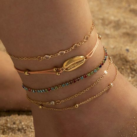 fashion trend new retro claw chain color rhinestone shell braided anklet 4-piece set bracelet  NHGY263871's discount tags