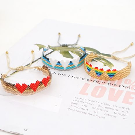 rice bead woven rainbow gradient 3 love wide bracelet for women wholesale NHGW263881's discount tags
