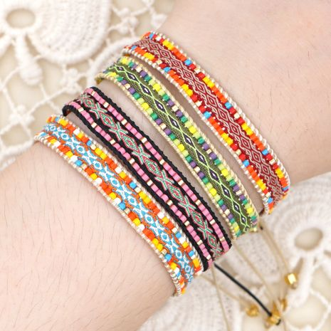 Rice Bead Weaving Bohemian style Retro Ethnic style Pattern Ribbon Bracelet NHGW263885's discount tags