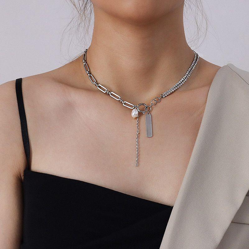 Style minimaliste croix chane fleur perle argent plein diamant titane acier bracelet collier ensemble pour les femmes NHOK263898