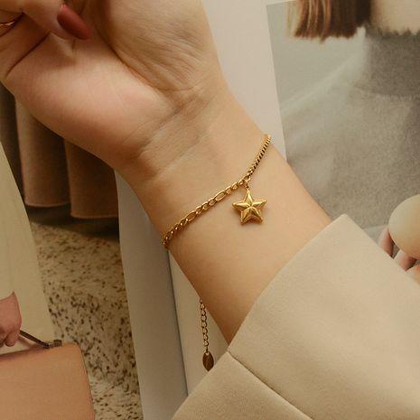 Bracelet en acier titane fait à la main avec motif étoile à cinq branches et motif de chaîne de niche NHOK263915's discount tags