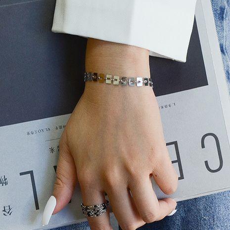 bracelet pour femmes en acier titane carré fait à la main pure marée de mode sauvage NHOK263924's discount tags