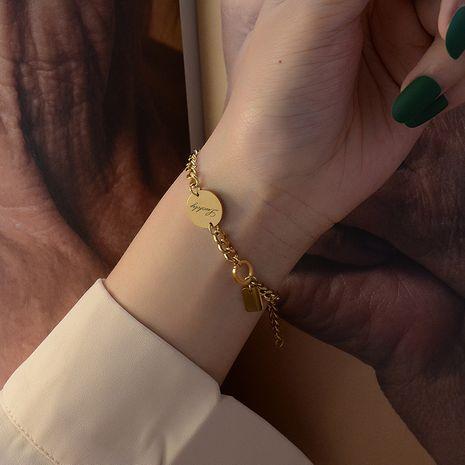Mode lettres de marée bonne chance longue marque bracelet de couleur en acier titane fait à la main NHOK263928's discount tags