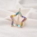heier Verkauf neue Legierung eingelegte Farbe Diamant Seitenclip einfache fnfzackige Stern Haarspange NHOA263942