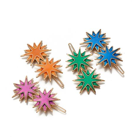 hot-selling new alloy dripping side clip candy color eight-pointed star hair clip NHOA263944's discount tags