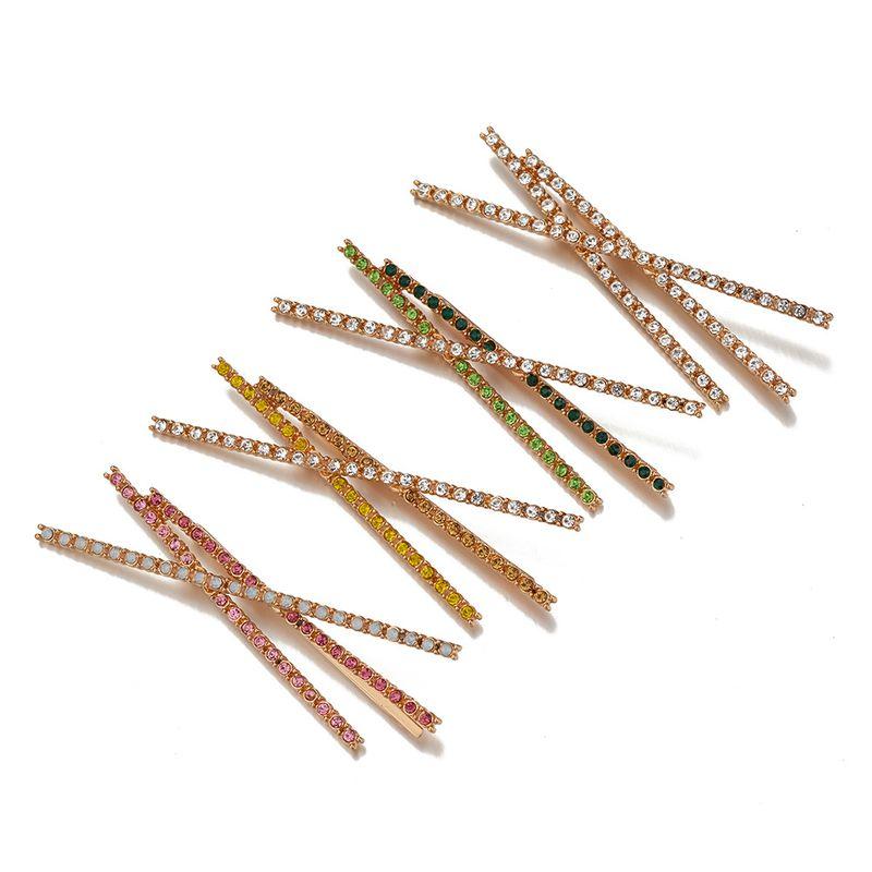 hot sale new alloy diamond-studded word clip gradient cross hair clip NHOA263945