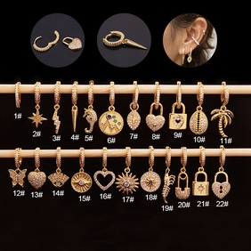 Fashion exaggerated zircon love fashion golden piercing round earrings for women NHEN263946