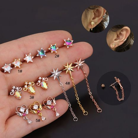 Korean creative inlaid colorful zircon flower piercing stainless steel thread earrings  NHEN263947's discount tags