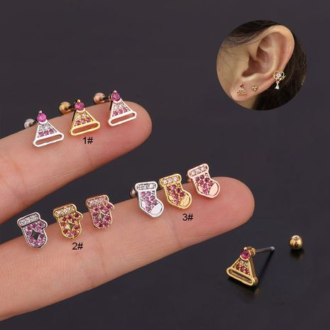 fashion mini hat shape screw stainless steel earrings NHEN263948's discount tags