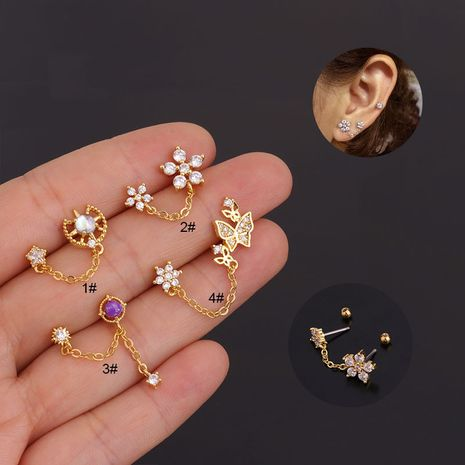 Korean creative earrings flower zircon fashion screw ear bone studs NHEN263950's discount tags