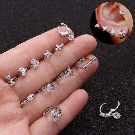 micro-inlaid zircon small ear buckle cartilage piercing earrings  NHEN263953's discount tags