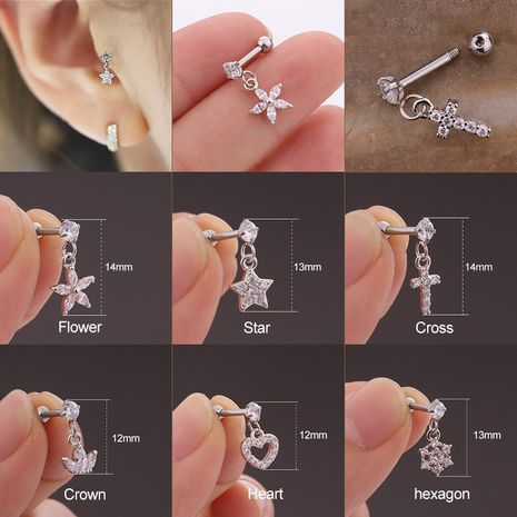 pierced stainless steel screw micro-inlaid zircon pendant flower earrings  NHEN263954's discount tags