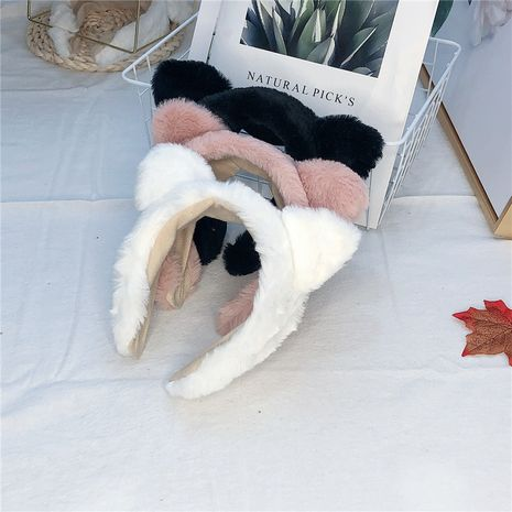 Fashion pure color plush cat ears wide-brimmed rabbit headband for women wholesale NHRH263970's discount tags