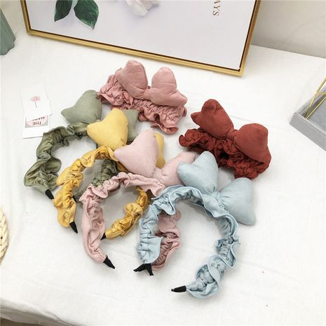 Korean new bow Mickey folds lace sponge pressure headband for women wholesale NHRH263975's discount tags