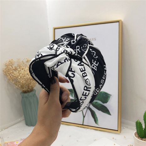 Korea new simple fashionable alphabet fabric bilateral hit color middle knot wide side hairband for women NHRH263978's discount tags