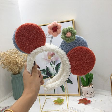 Wholesale three-dimensional Mickey Mouse flower plush headband cute selling hair hoop for women NHRH263985's discount tags