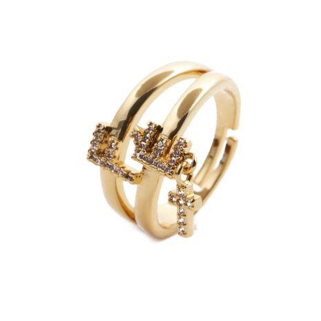 mode papillon croix ouvert anneaux de cuivre zircon en gros NHYL264034's discount tags