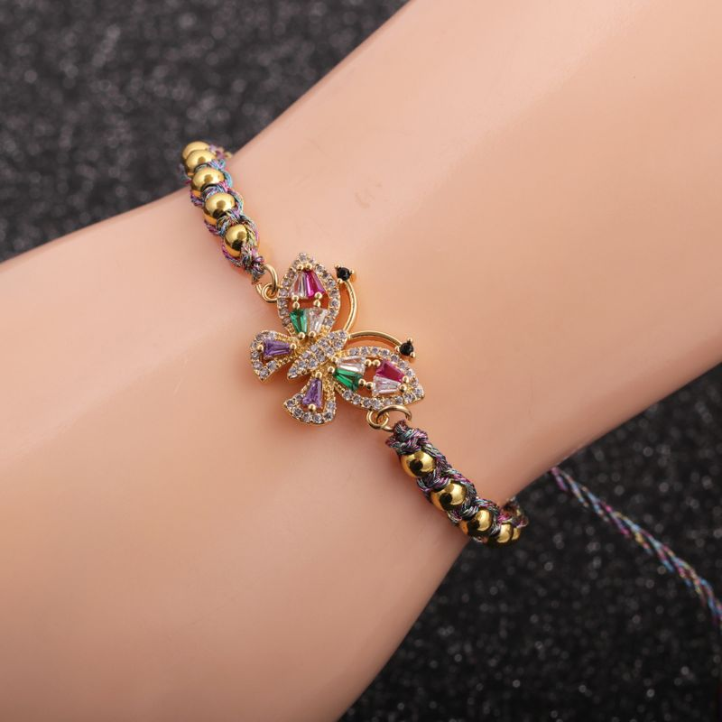 hot-selling new micro-inlaid zircon butterfly copper bracelet for women hot-saling NHYL264042