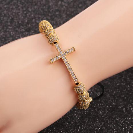 Nouveau bracelet croix en zircon micro-incrusté 8 mm boule de diamant 6 mm perle de cuivre réglable NHYL264050's discount tags