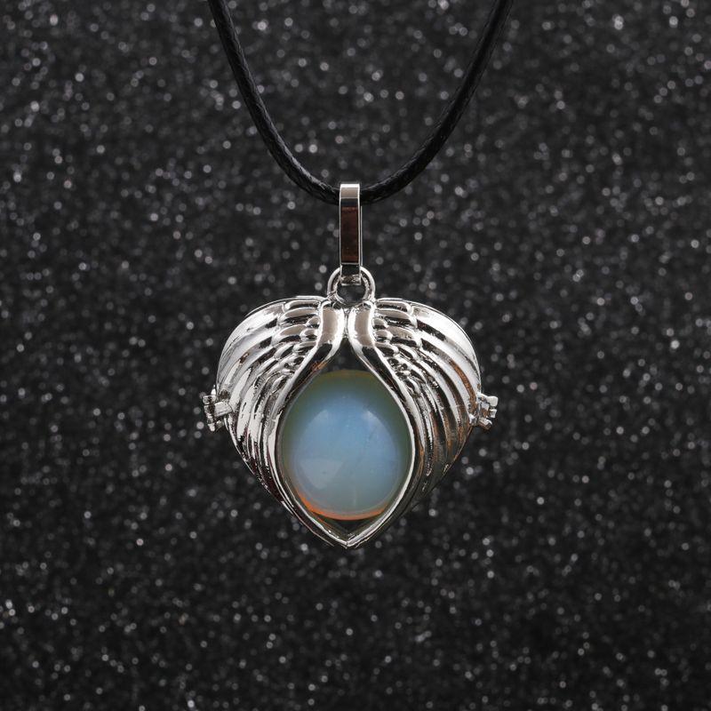 Korea wax rope angel wings round bead pendant necklace NHYL264051