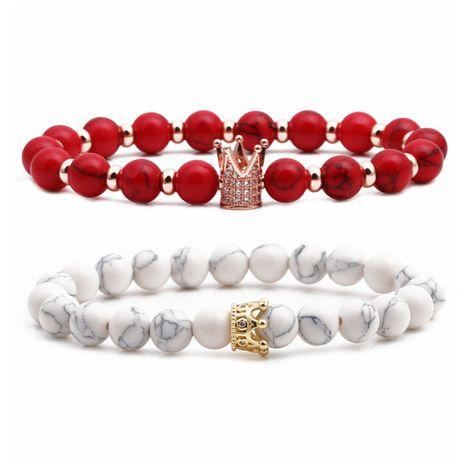 Vente chaude pin blanc rouge turquoise mat noir pierre couronne couple cuivre perles bracelet de perles NHYL264053's discount tags
