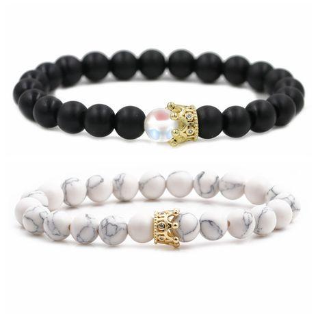 Offre spéciale 8 mm noir mat pierre de lune pierre de lune blanc Turquoise couronne couple Bracelet perlé NHYL264054's discount tags