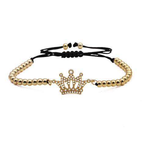 Bracelet en perles de cuivre tressé avec couronne en zircon micro-incrusté pour homme et femme NHYL264055's discount tags