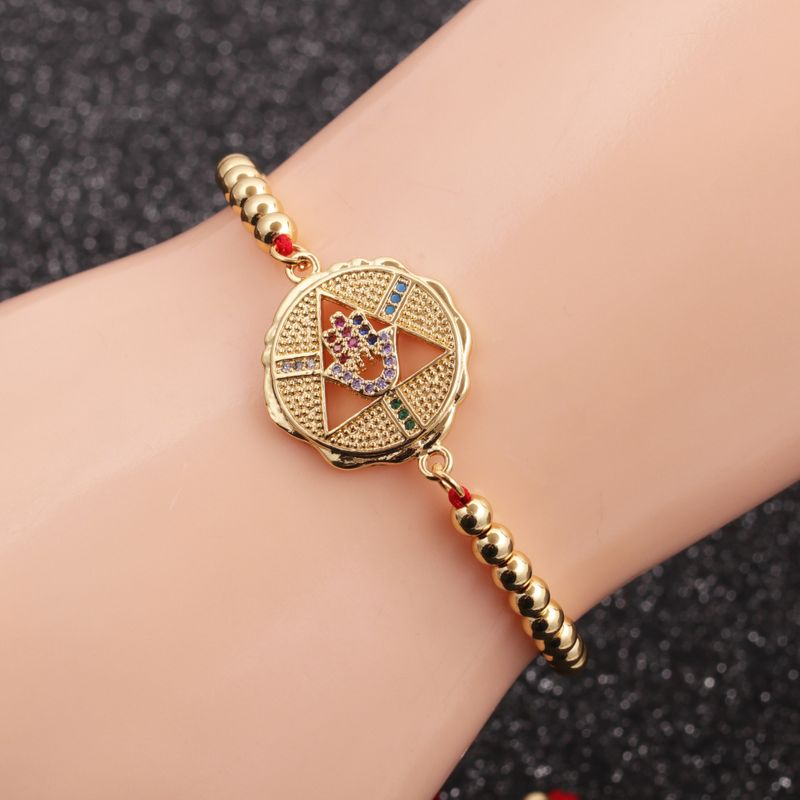 New launch microinlaid zircon palm red string copper bracelet  NHYL264063